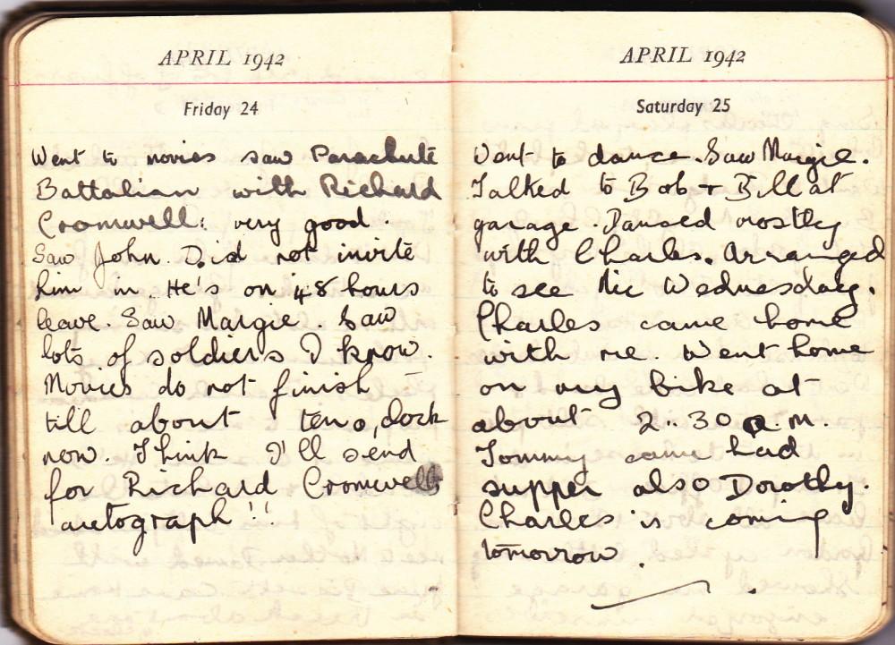 Cynthia's Diary – April 24 – 25, 1942