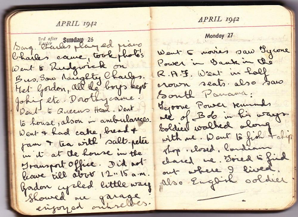 Cynthia's Diary – April 26 – 27, 1942