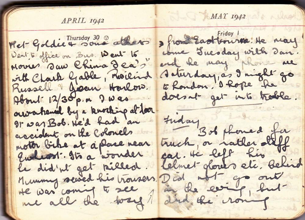Cynthia's Diary – April 30 – May 1, 1942