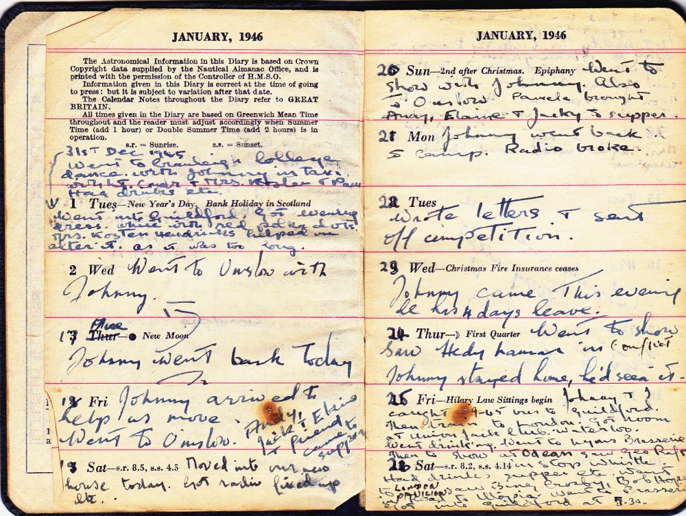 Cynthia's Diary – Dec 31,1945 – Jan 26, 1946