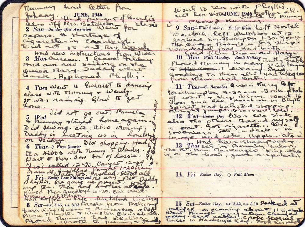 Cynthia's Diary – June 2 – 15, 1946